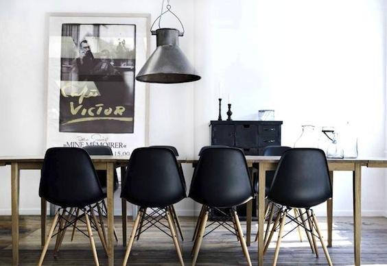black matte eames chairs