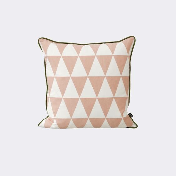Ferm Living pink geometric cushion