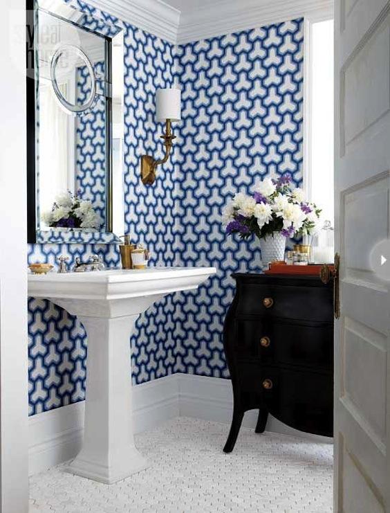 blue patterned powder room