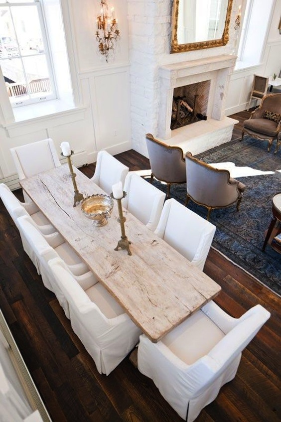 Large White Rustic Wood Table Fits In Perfectly In This ALL Monochrome  Dining Space
