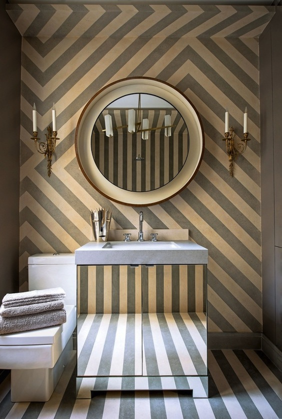 striped powder room