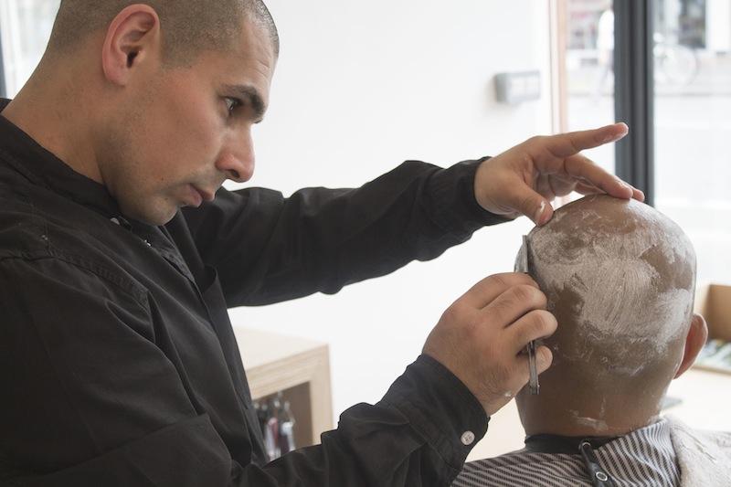 Andy shaving