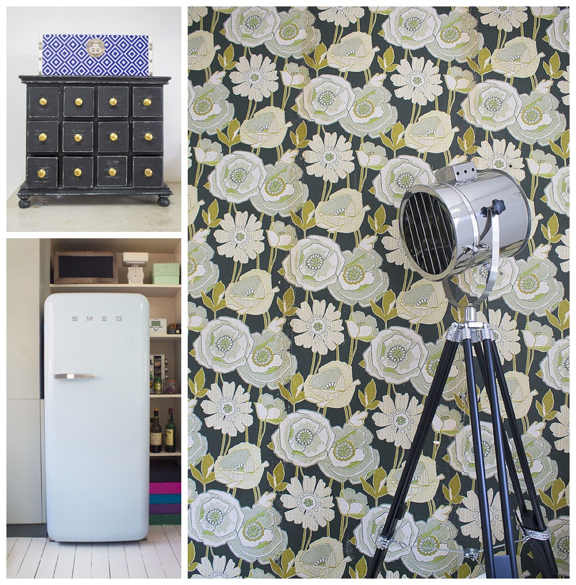 wallpaper and smeg fridge