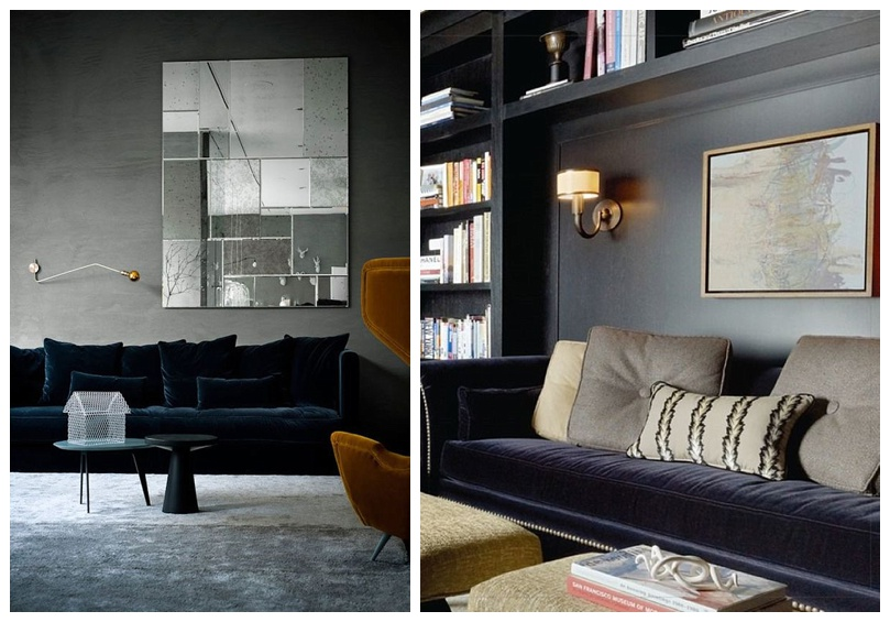 A Perfect Combo Velvet Sofa Dark Walls