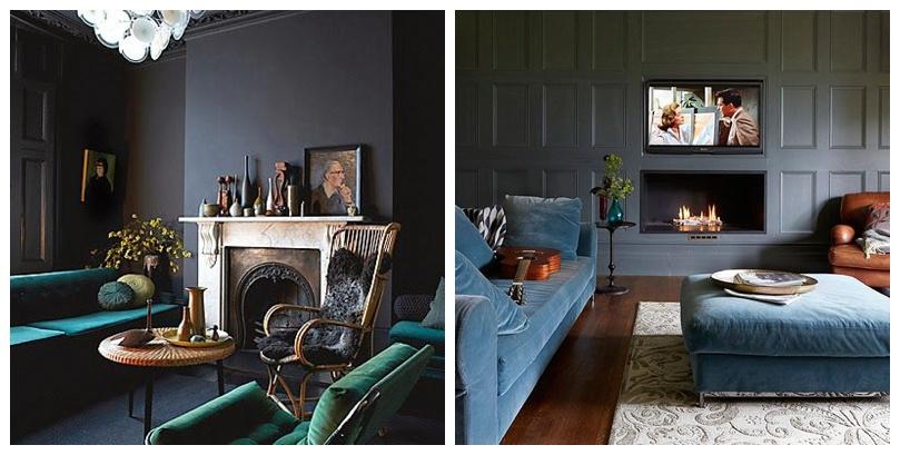 A Perfect Combo Velvet Sofa Dark Walls