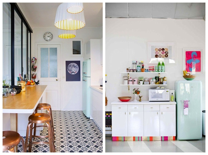 Modern Monochrome Kitchen With Retro Pop Sea Green Smeg