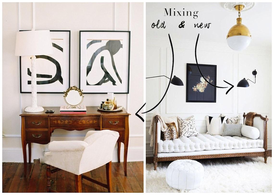 Mixing antique contemporary decor pieces