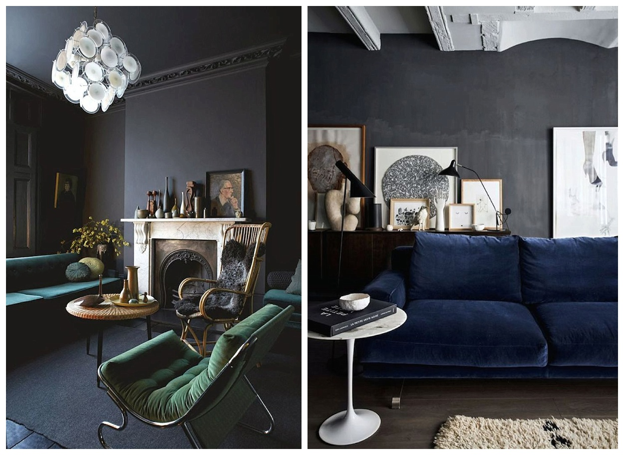 Moody Velvets  As winter is pretty much here adding jewel toned velvet  furniture to dark grey walls will create such a stunning yet cozy space.