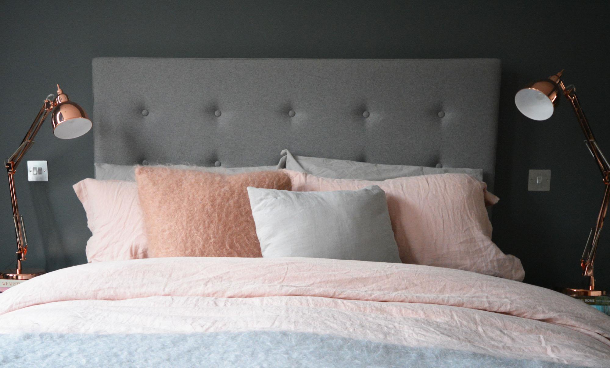 Bedroom Makeover: Grey, Copper + Pink