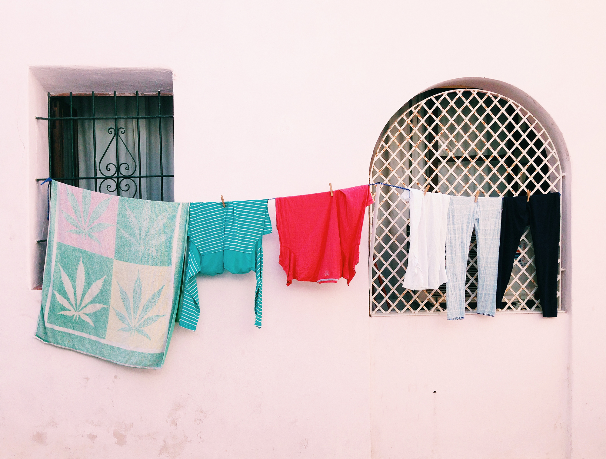 Clothesline hanging in Ibiza, Spain. Photo by STUDIO 1208