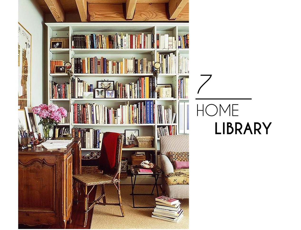 chic interior style home library books